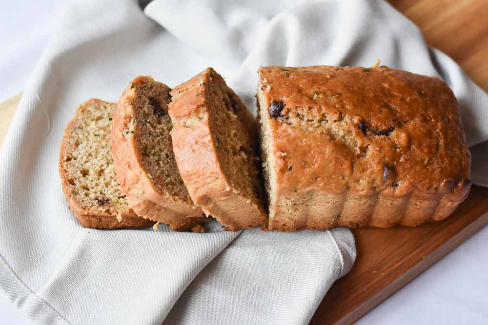 Chocolate Chip Zucchini Bread With Two Spoons
