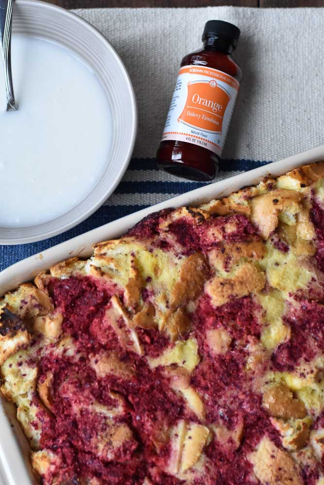 Cranberry Orange Make Ahead French Toast Bake with orange bakery emulsion from LorAnn