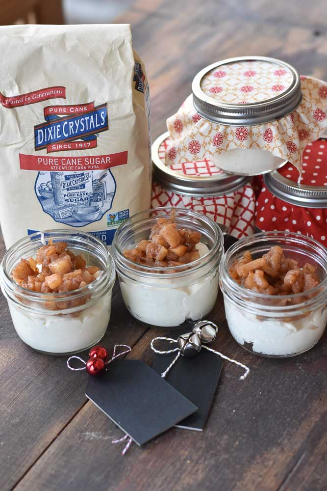 Vanilla Yogurt Mousse with Cinnamon Apples in small jars with Dixie Crystals.