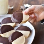 Dark Chocolate Dipped Almond Shortbread Cookies