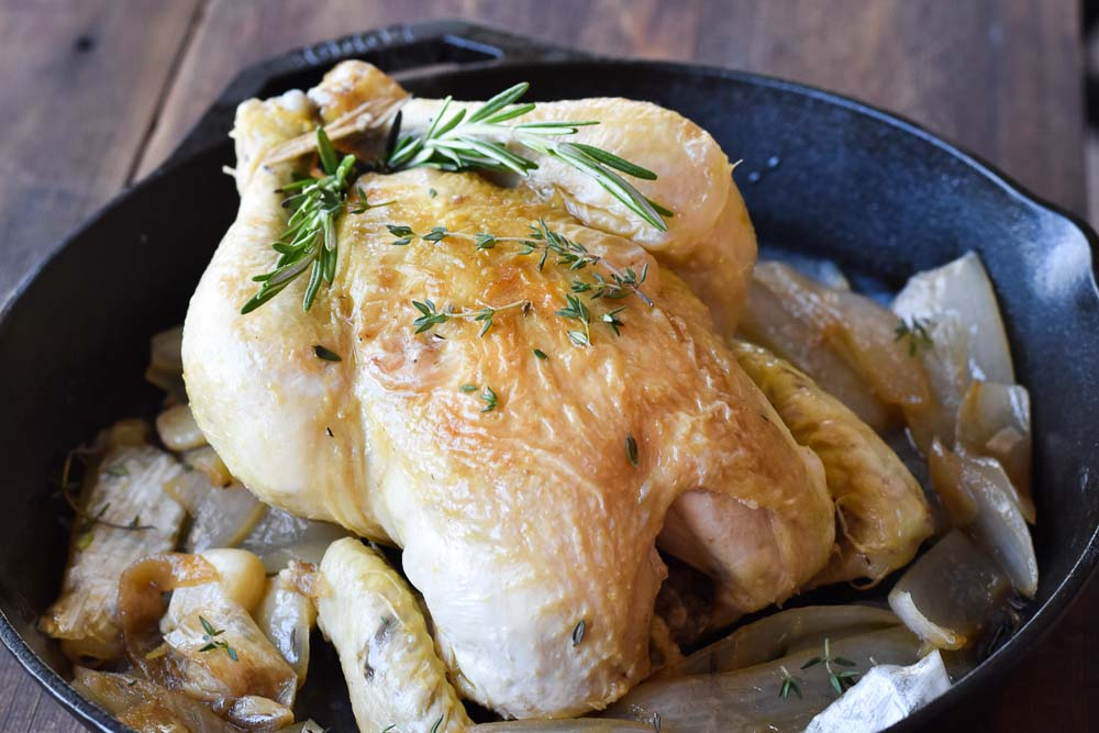 Roasted Chicken in a cast iron skillet