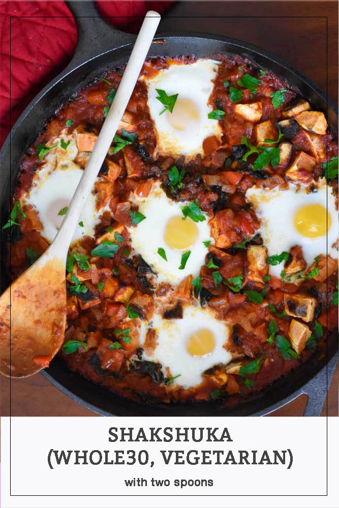 Whole 30 Shakshuka in a cast iron skillet long pin