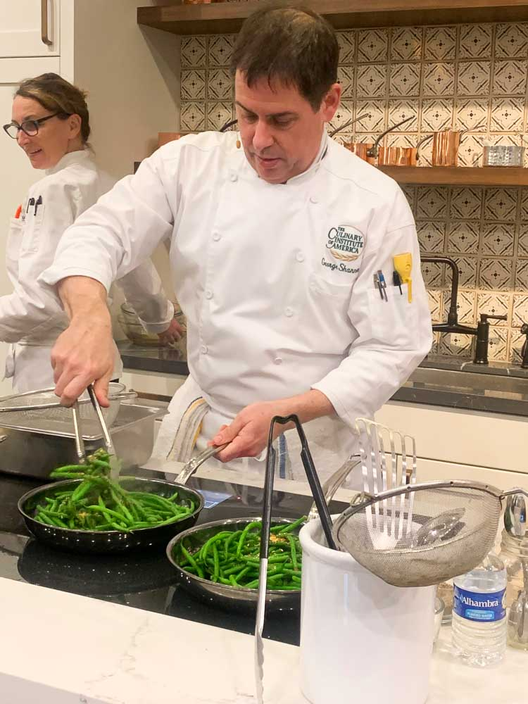 A cooking demonstration by Chef George Shannon at Healthy Kitchens