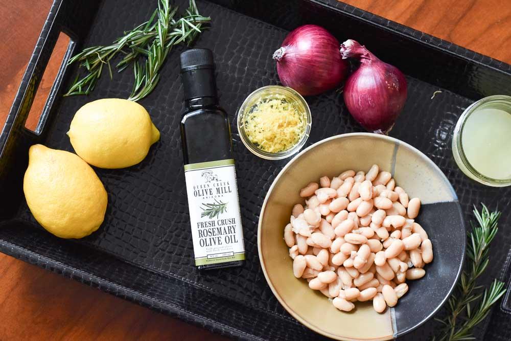 Ingredients for Lemon Rosemary White Bean Dip