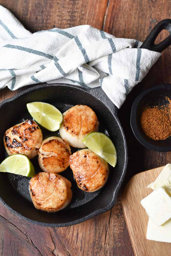 Maple Glazed Seared Scallops with limes