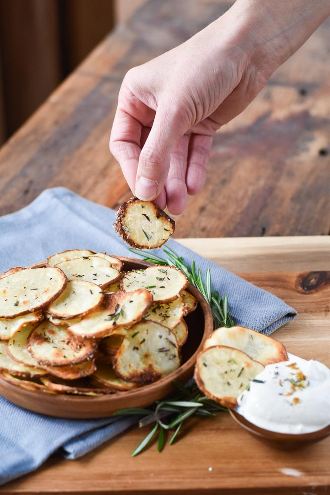 Lemon Rosemary Potatoes with cumin sour cream
