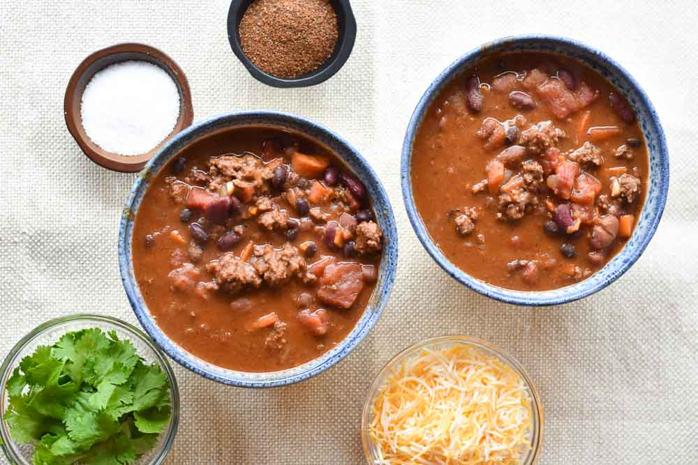 Instant Pot Chipotle Beef Chili in bowls