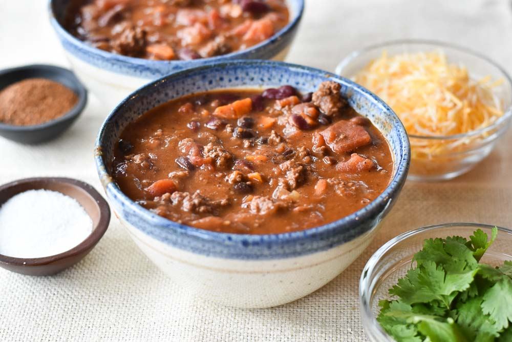 Instant Pot Chipotle Beef Chili from the side