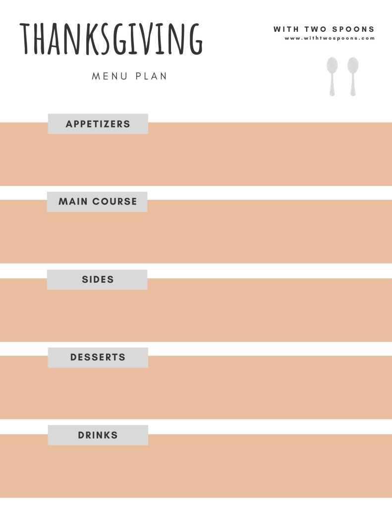 Thanksgiving Meal Planner Printable