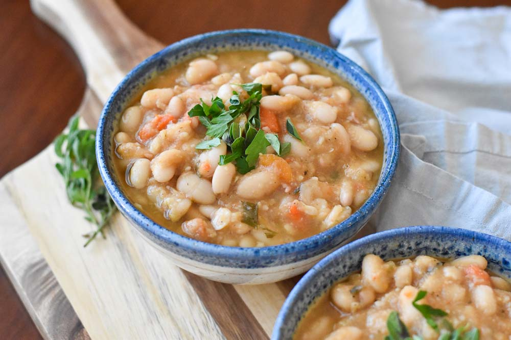 Side view of Instant Pot Vegan White Bean Soup