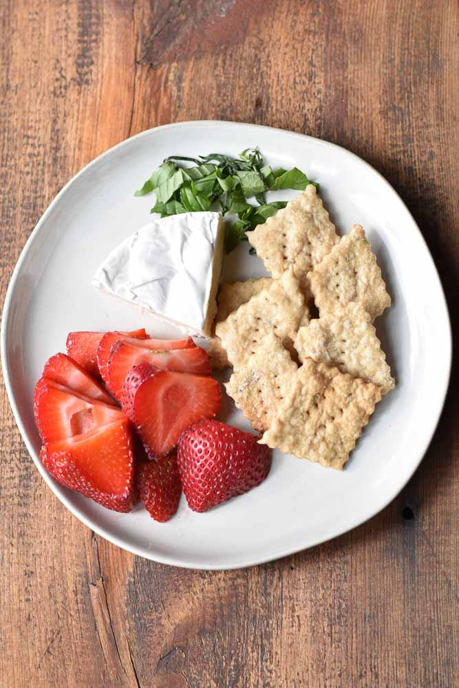 Everything but the Bagel Sourdough Crackers on a plate