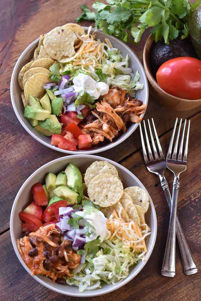 Two bowls containing Slow Cooker Southwest Chicken