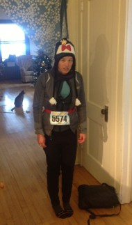 Will snapped this of me coming home after the Polar Dash. Don't I look happy?