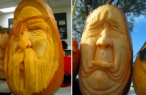Huge Long Face Pumpkin Carvings (image mosslounge.com). Amazing Halloween Pumpkin Carvings