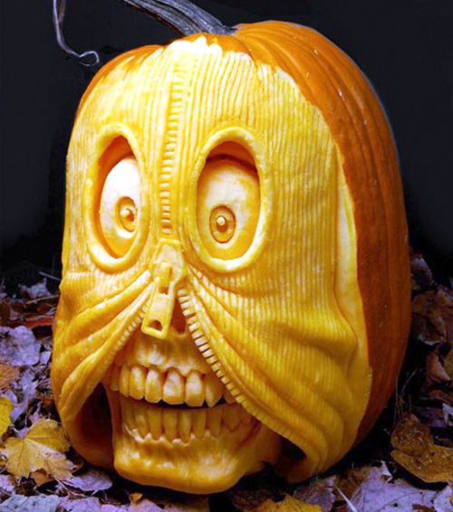 Zip Skull Pumpkin Carving (image www.toxel.com). Amazing Halloween Pumpkin Carvings