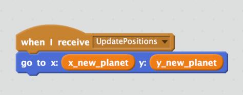 เมื่อดาวได้ยินประกาศ UpdatePositions ดาวก็ขยับไปตำแหน่งใหม่ที่คำนวณได้มา