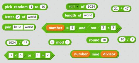 ตัวอย่าง Operator ใน Scratch