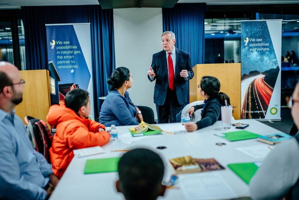 Senator Dick Durbin addressing students and mentors at BP.