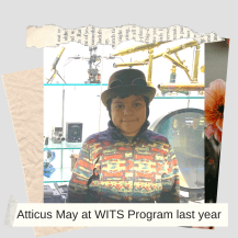 Atticus May wearing a hat and patterned fleece in a classroom at WITS Program last year
