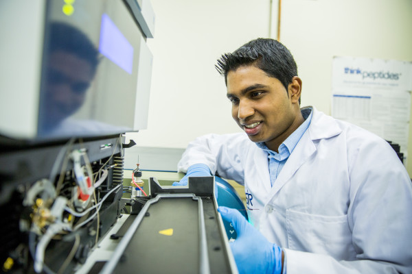 Previn Naicker is busy at work in the CSIR lab on the development of protein particles. Photo: CSIR
