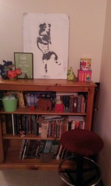 A book case with lots of brightly coloured toys and nick-knacks