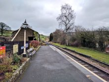 A view down the platform at Oakworth KWVR station
