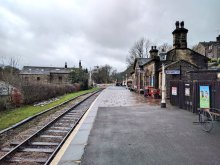 A view southbound of the platform at Oakworth KWVR station