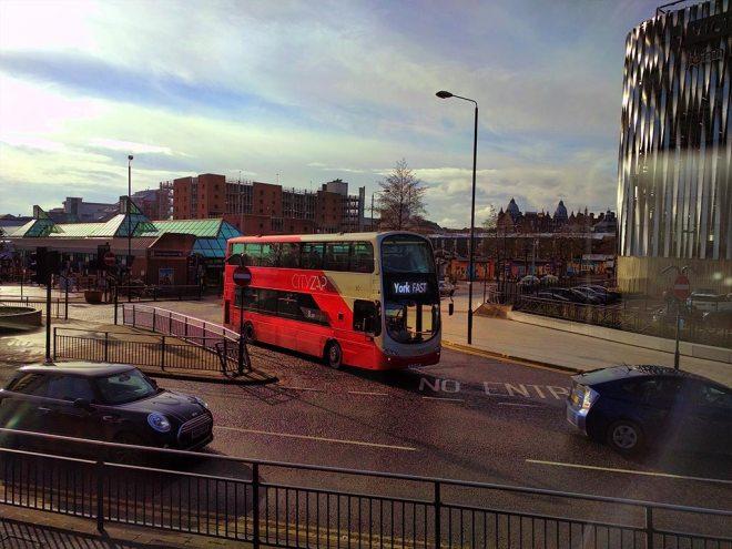 CITYZAP Gemini departing Leeds City bus station