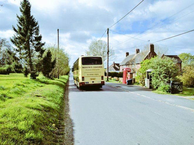 The Mervyn's Coaches 95 departing Stoke Charity