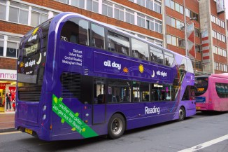 A purple 17 bus parked up in central Reading waiting to start another loop to Wokingham Road