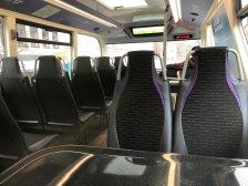 Tables on Purple 17 buses