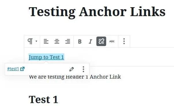 Adding HyperLink to Create Anchor Links In Gutenberg