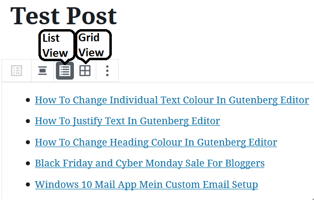 Changing The Settings to Add Latest Posts Links In Gutenberg Editor