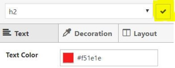 Clicking the Tick Icon to Confirm the CSS