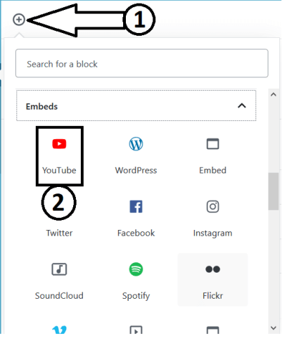Adding the YouTube block to Embed YouTube Video In Gutenberg Editor