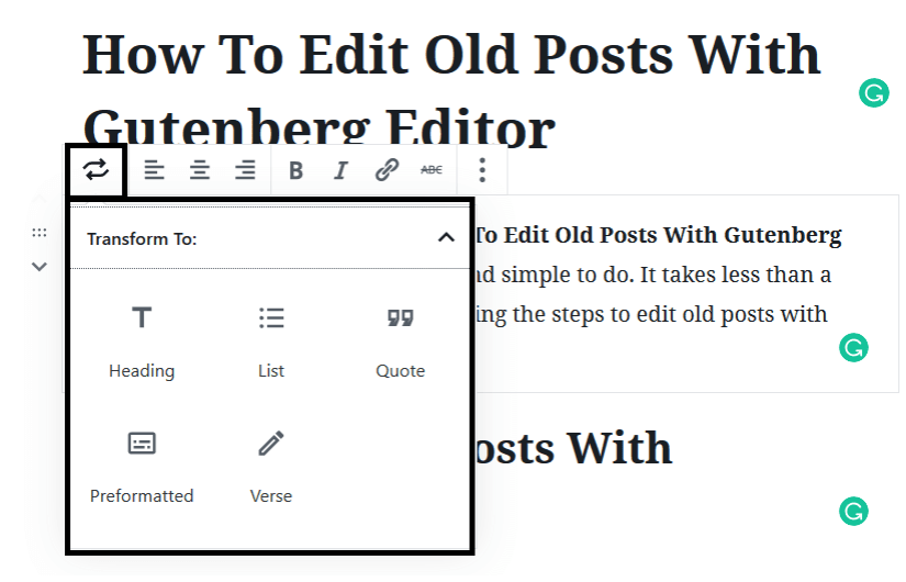 Transforming Blocks to Edit Old Posts With Gutenberg Editor