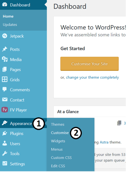 Opening Customiser to Change Font Size In WordPress