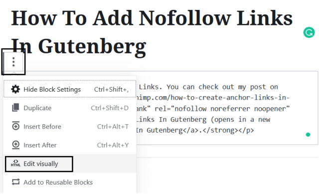 Editing Visually To Add Nofollow Links In Gutenberg