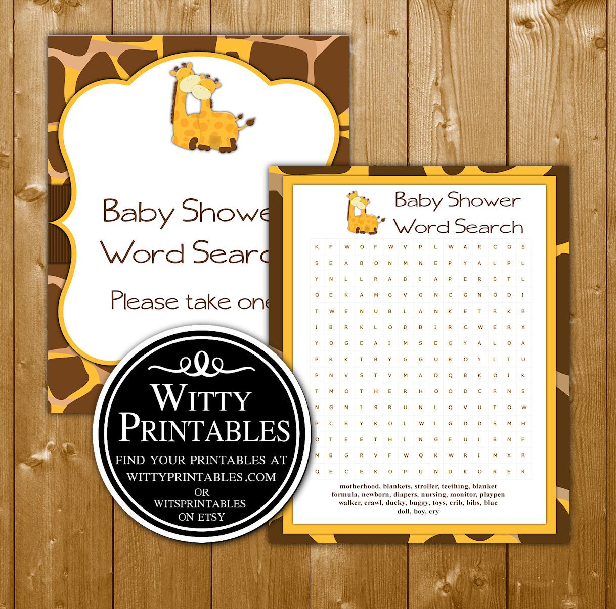 Word Search Baby Shower Game Giraffe Theme