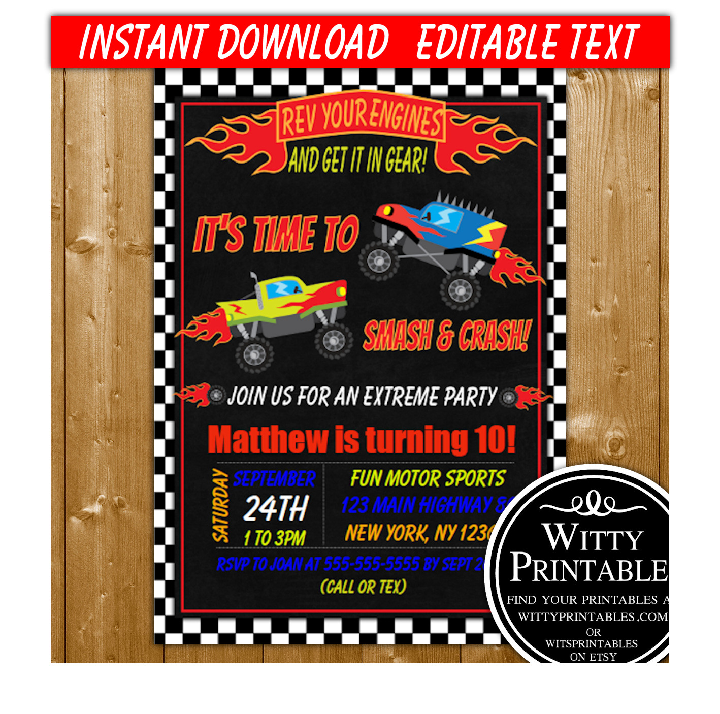 monster truck party invitation printable digital download boy birthday party invite