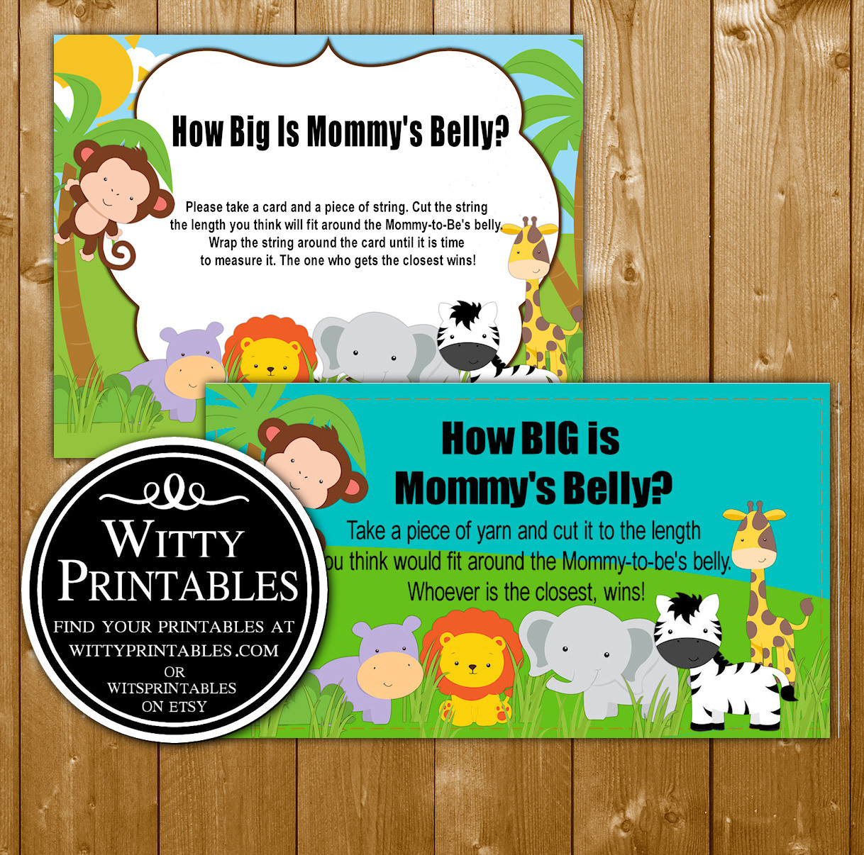 Safari Animals Baby Shower Game How Big Is Mommy S Belly