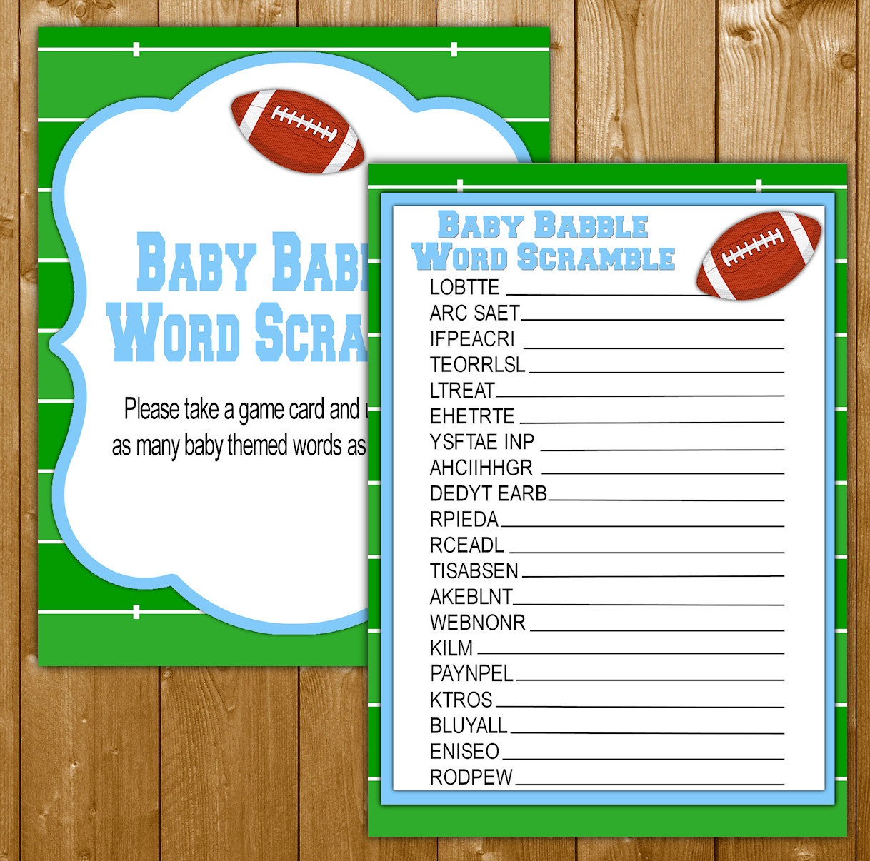 Word Scramble Baby Shower Game Football Theme For A Boy
