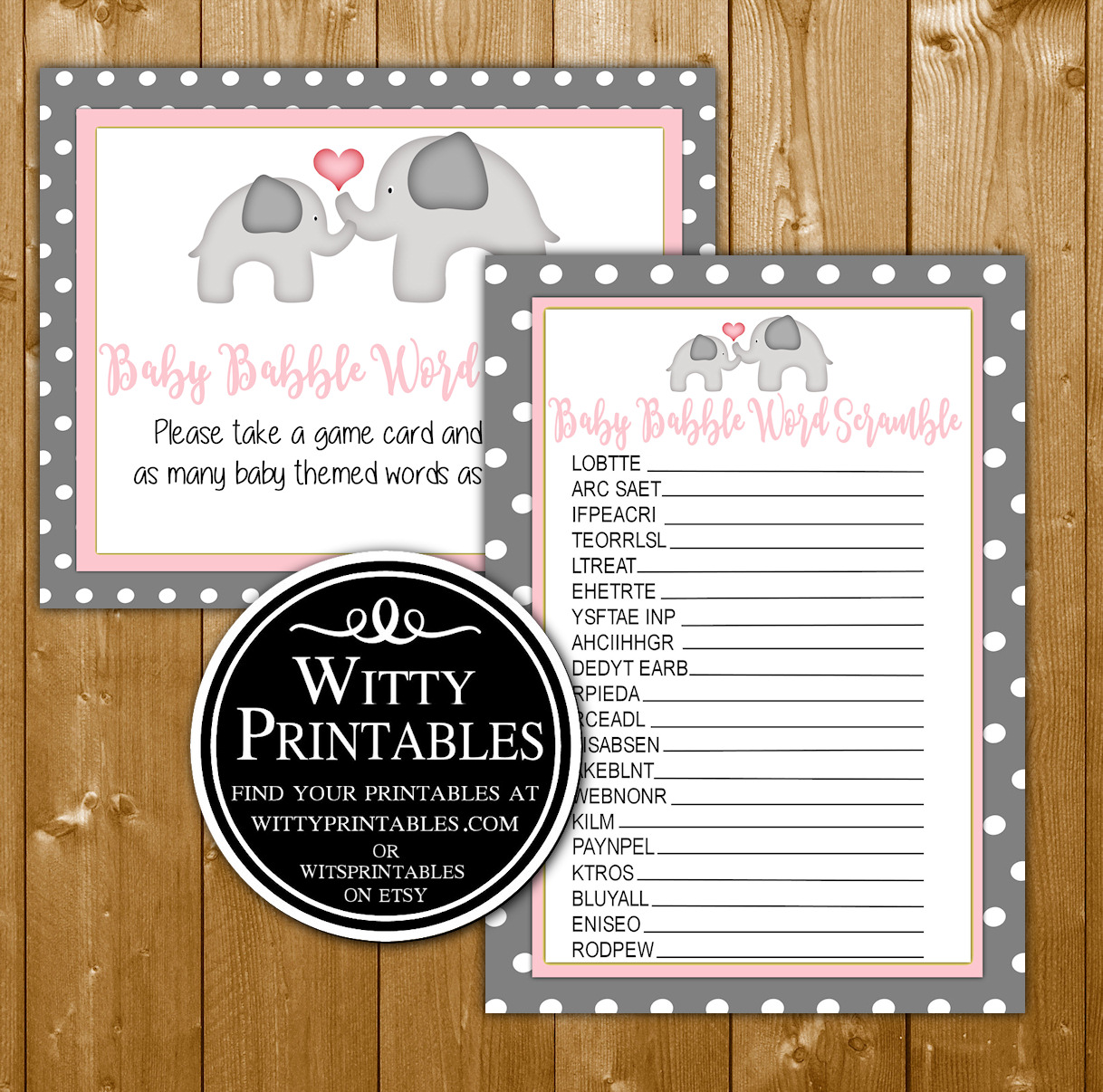 Word Scramble Baby Shower Game Printable Pink Elephant
