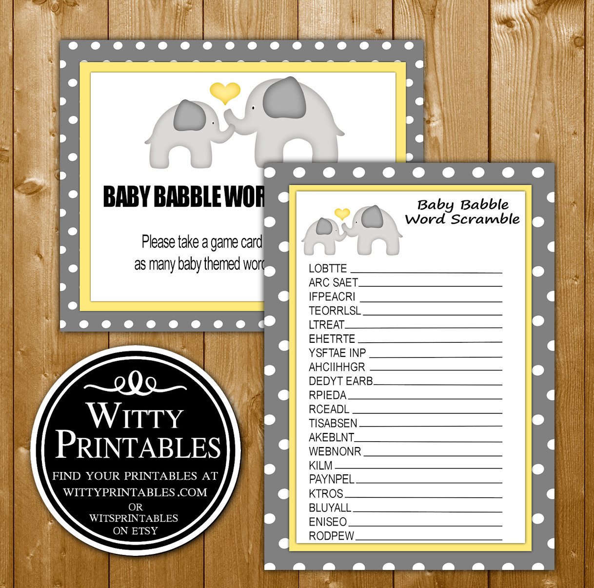 Word Scramble Baby Shower Game Printable Yellow Elephant