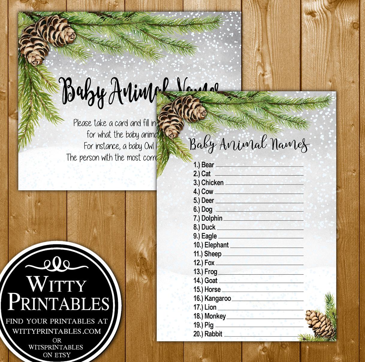 Animal Names Baby Shower Game Printable Winter Pine Theme