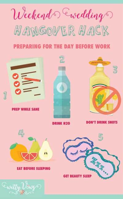 Handle a wedding weekend hangover at work | The guide for things to do the night of the party | Witty Vows