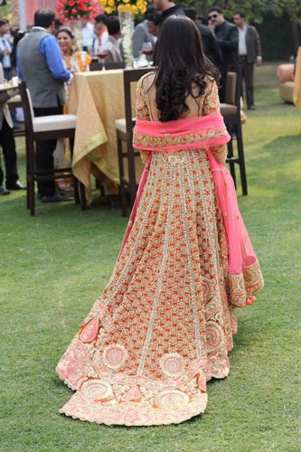 Trend Alert - Trains for the Indian Bride   Curated by Witty Vows   A beautiful blue gown for the cocktail with a long train   Pink and Gold suit with a long train  New Indian wedding trends 2016  Indian bridal look