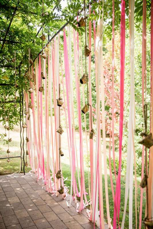 Indian Mehndi Decor Ideas   Wedding mood board to love - PINK and GOLD INDIAN Mehendi Theme curated by Witty Vows   Hot Pink fuchsia Rani Pink Pluss gold Colour Indian wedding Decor PINK RIBBONS with GOLD bells