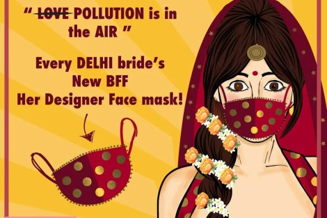 Delhi Brides| Air Pollution | Fun | Meme | Bridal Fashion| Accessories | Indian Brides | Desi Bride| Dulhan| Lehenga | Cartoon | Mask