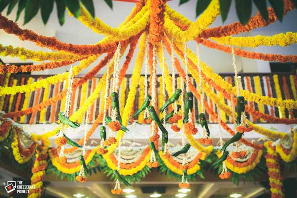 Magic with marigold | DIY decor ideas for the wedding house | Marigold string canopy for the aangan| Curated By Witty Vows